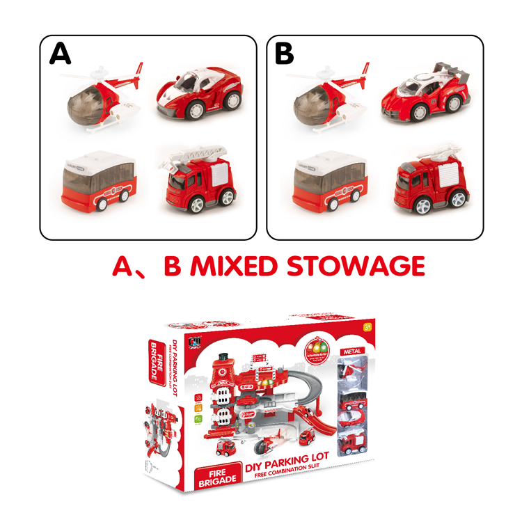parking lot toy set car B/O fire parking lot toy-2