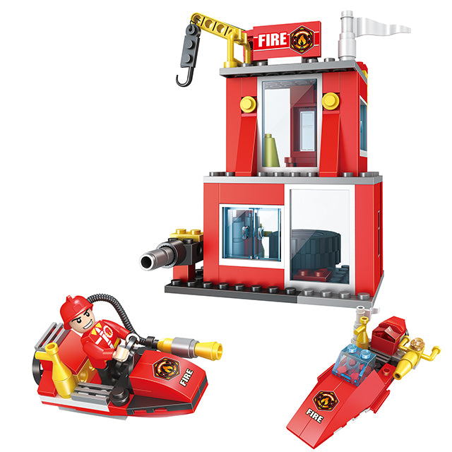 Fire station building block toys-1