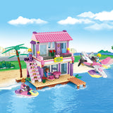 aBS city villa seaside assemble DIY building bricks toy for girl-2