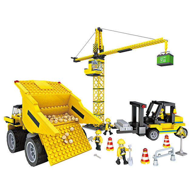 New engineering crane truck play toy build block kit-3