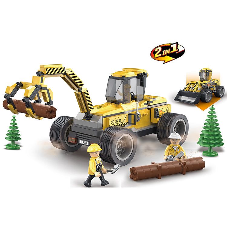 Creative 380pcs logging works engineering car enlighten bricks toys for children-1