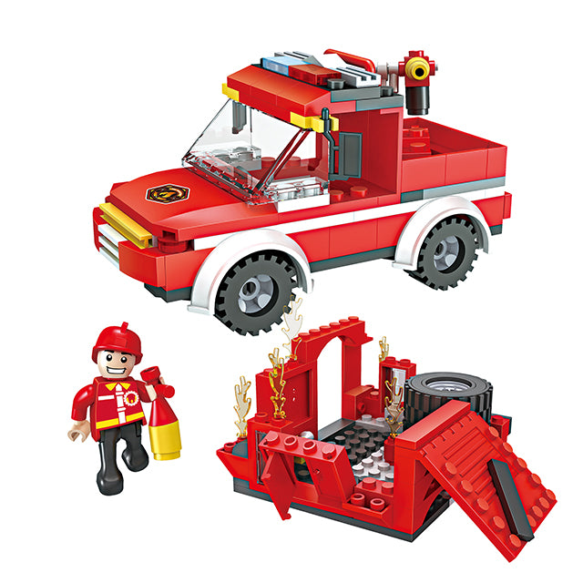 legoing fire fighting truck building block toys-1
