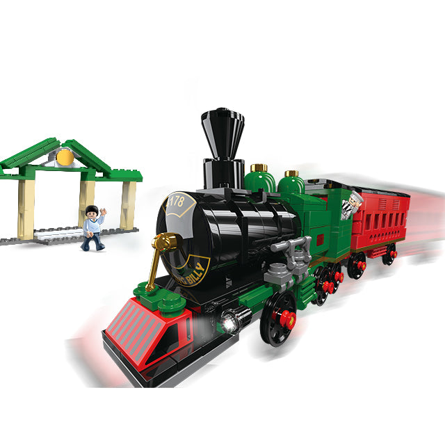 Plastic new train building puzzle blocks toys-1