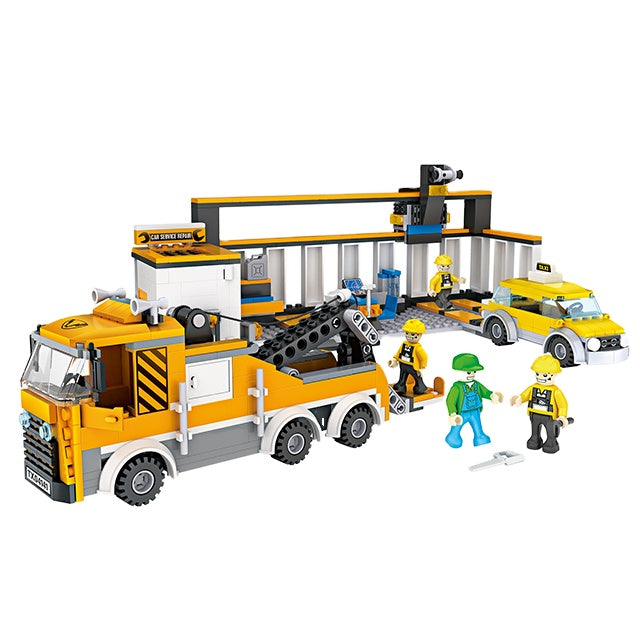 Car service repair building block toy-1