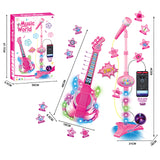 Creative high quality kid battery operated guitar microphone 2 in 1 musical set toys for gift