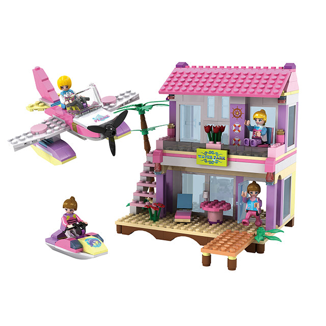 aBS city villa seaside assemble DIY building bricks toy for girl-3
