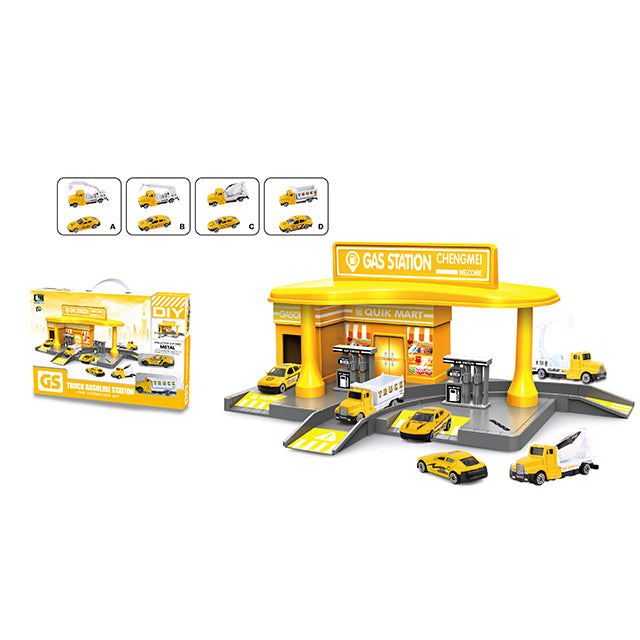 gas filling station toy gas station track car toy-1