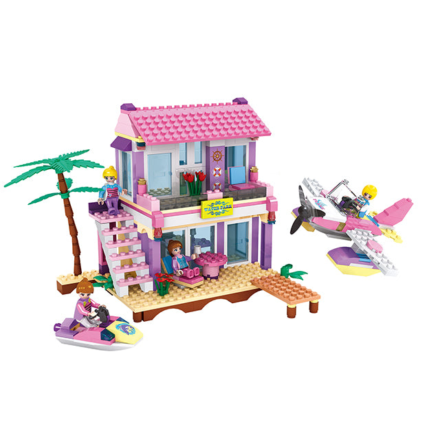 aBS city villa seaside assemble DIY building bricks toy for girl-1