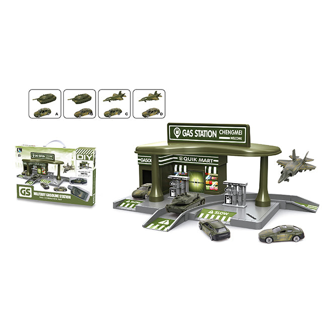 gas filling station toy military gas station track car toy-1