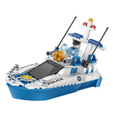 aBS police helicopter puzzle building block toy set-3