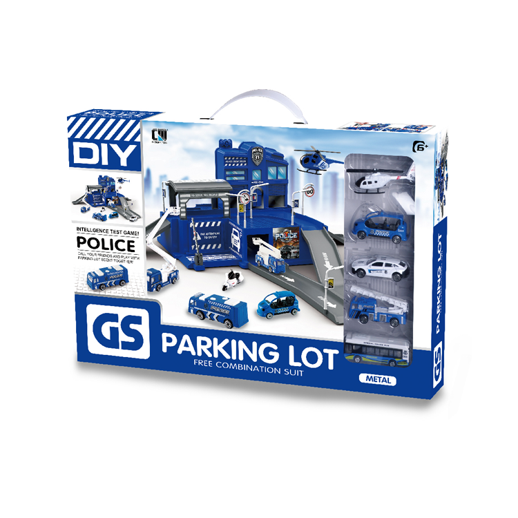 police car parking lot toy plastic toy parking lot-2