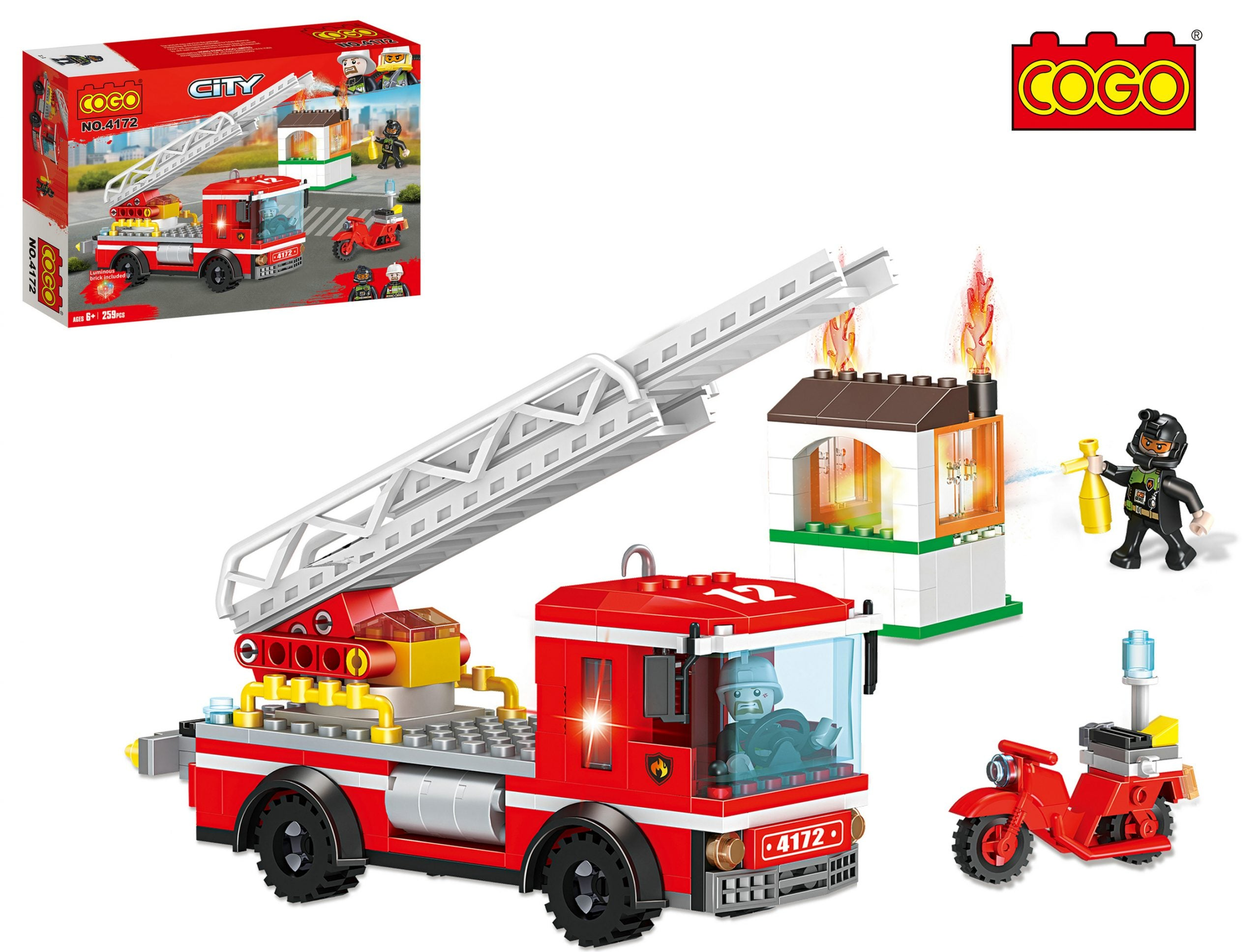 COGO legoingly kid toy brick 2020 kid block build Blocks toy Building Fire rescue truck-3
