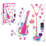 Hot popular creative 2 in 1 guitar double microphone connect mp3 educational musical kids toy set