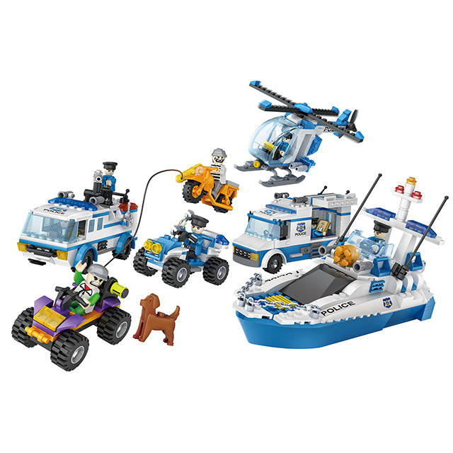 aBS police helicopter puzzle building block toy set-1
