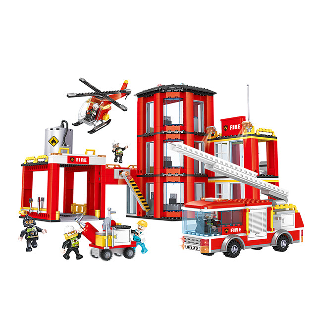 New style fire station puzzle building bricks kids toys set for gift-1