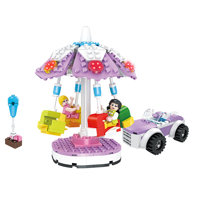 girls merry go round block toys-5