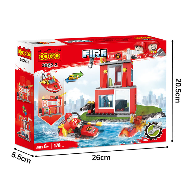 Fire station building block toys-6