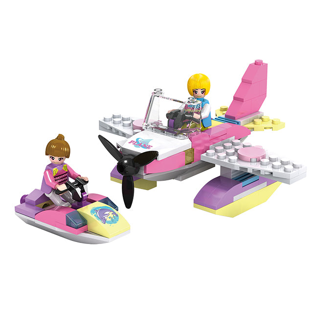 aBS city villa seaside assemble DIY building bricks toy for girl-5