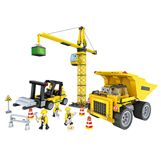 New engineering crane truck play toy build block kit-1