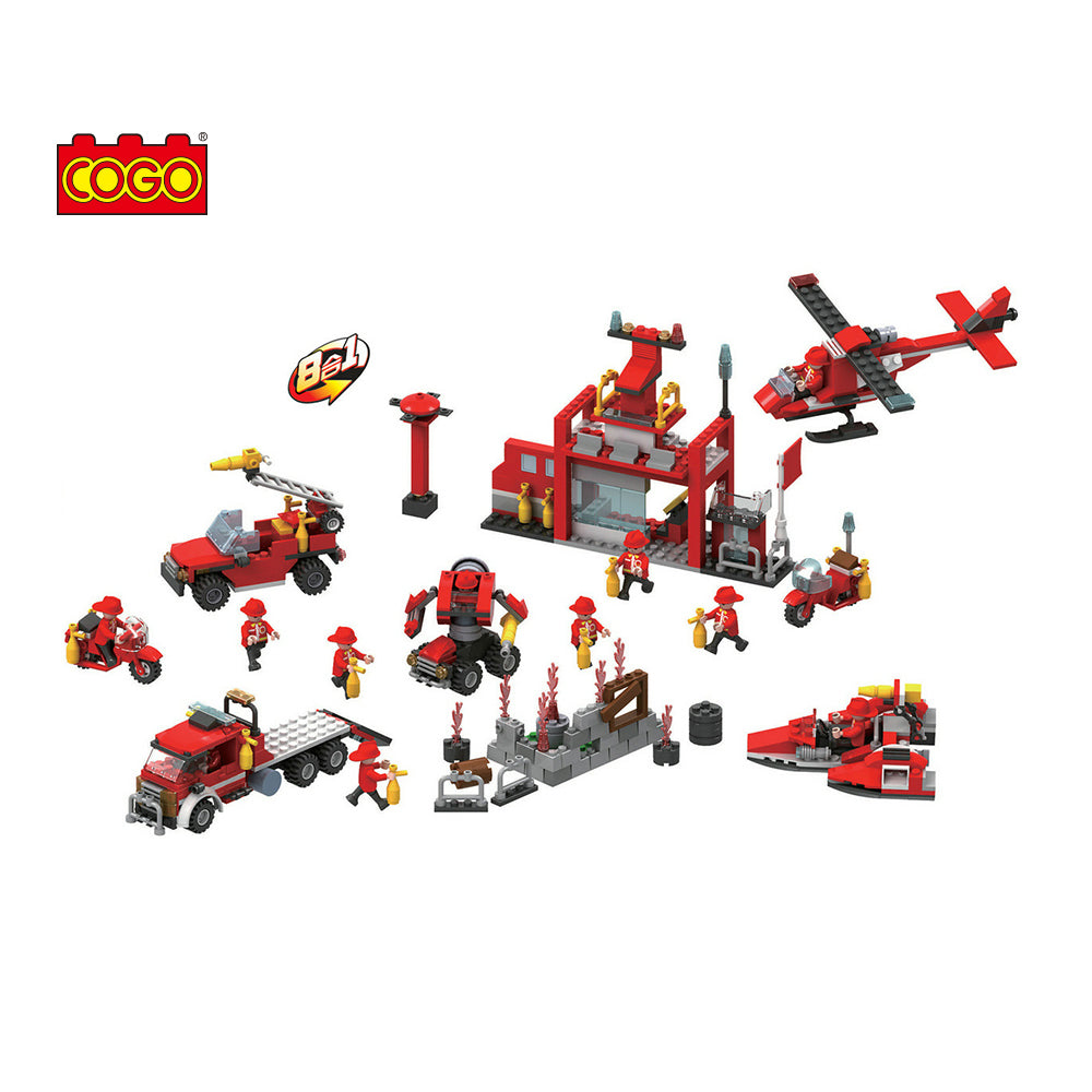 Creative 8 in 1 fire station building blocks for kids-1