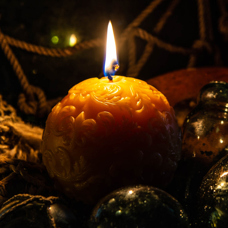 Shipwreck Honey Seattle WA Beeswax Candle Fleur De Lis Sphere Beeswax Candle ProductView