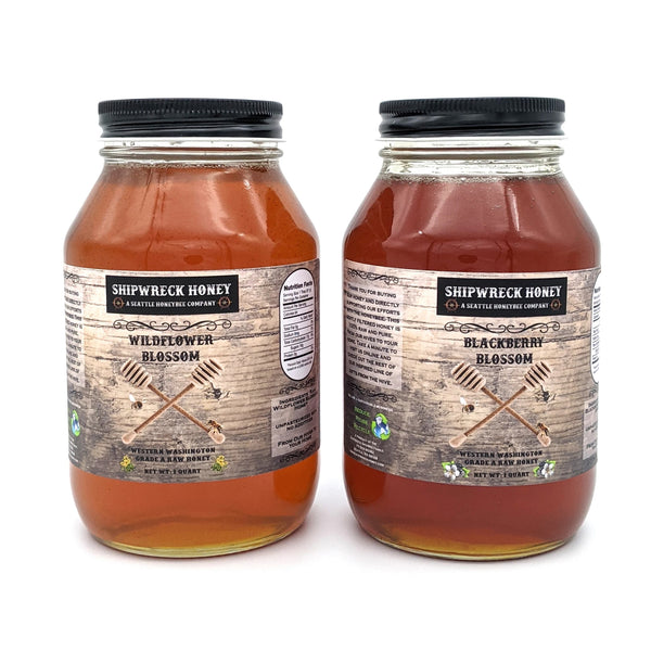 Shipwreck Honey Raw Honey 1 Quart Jars in both Blackberry Blossom Honey or Wildflower Blossom Honey Front Label