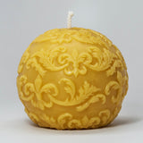 Shipwreck Honey Seattle WA Beeswax Candle Fleur De Lis Sphere Beeswax Candle Background