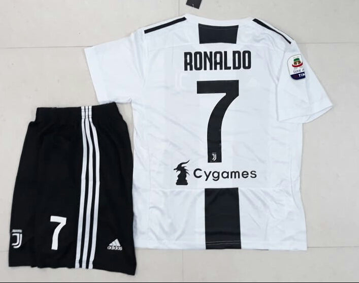 info for b18ac ebf56 Original Ronaldo Juventus Premium Home Jersey and Shorts [Optional] 2018-19  (with Italia logos)
