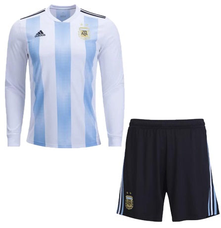 Kids Argentina Home Full Sleeve Jersey & Shorts FIFA World Cup 2018