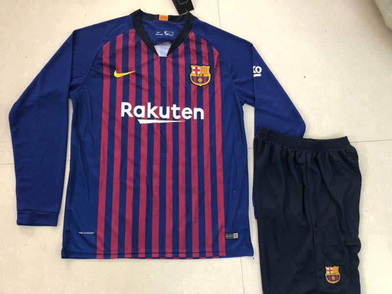 698898c2a ... Original Barcelona Full Sleeve Premium Home Jersey   Shorts  Optional   2018-19 ...