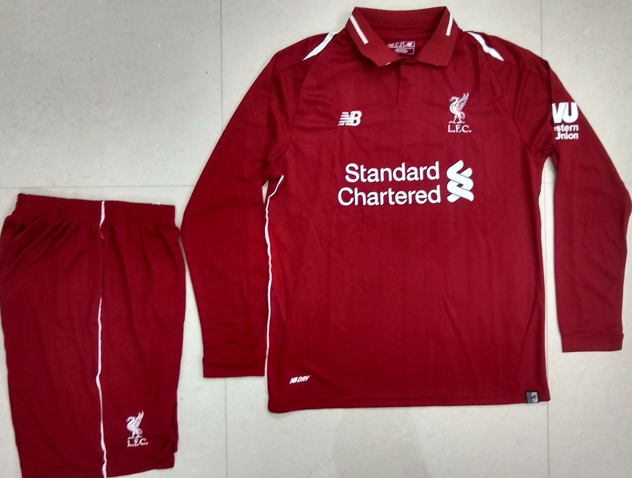 d1a22e7af ... Original Liverpool Premium Home Full Sleeve Jersey and Shorts   Optional  2018-19