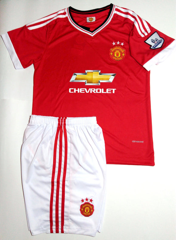 Kids Manchester United Home Jersey & Shorts
