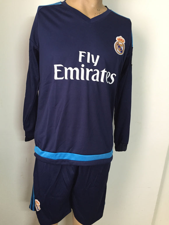 Real Madrid Blue Full Sleeves Football Jersey and Shorts 2015-16