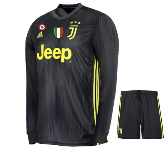 Original Juventus Premium 3rd Full Sleeve Jersey and Shorts 2018-19 (With Italia logos)