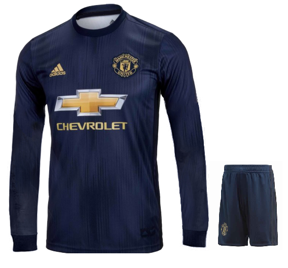 Original Manchester United Full Sleeve Premium 3rd Kit Jersey and Shorts 2018-19