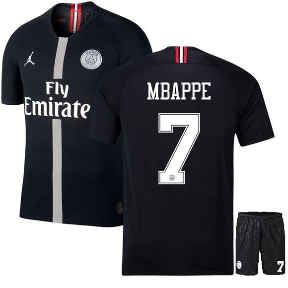 Original Jordan X Black Mbappe PSG Premium Jersey & Shorts [Optional] 2018-19