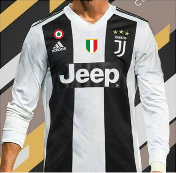 Original Juventus Home Full Sleeve Premium Jersey and Shorts 2018-19 (With Italia & SerieA logos)