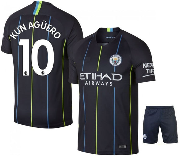 Original Aguero Manchester City Premium Away Jersey & Shorts [Optional] 2018-19