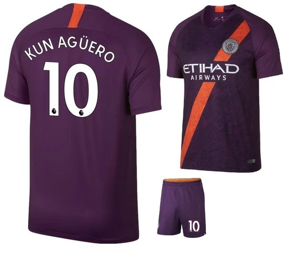Original Kun Aguero Manchester City Premium 3rd Jersey & Shorts [Optional] 2018-19
