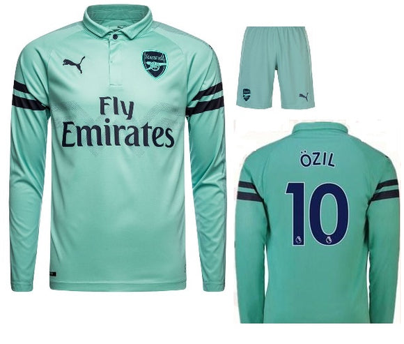 Original Ozil Arsenal Premium Full Sleeve 3rd Jersey & Shorts 2018-19