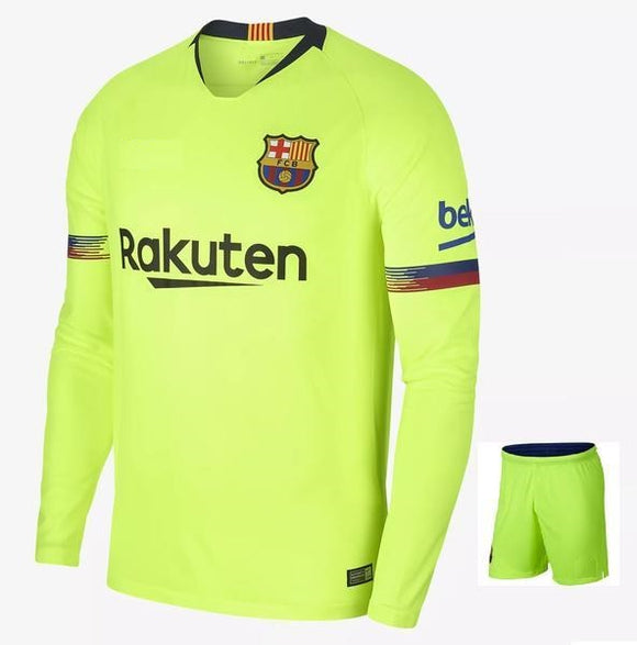 Original Barcelona Away Full Sleeve Premium Jersey & Shorts [Optional] 2018-19