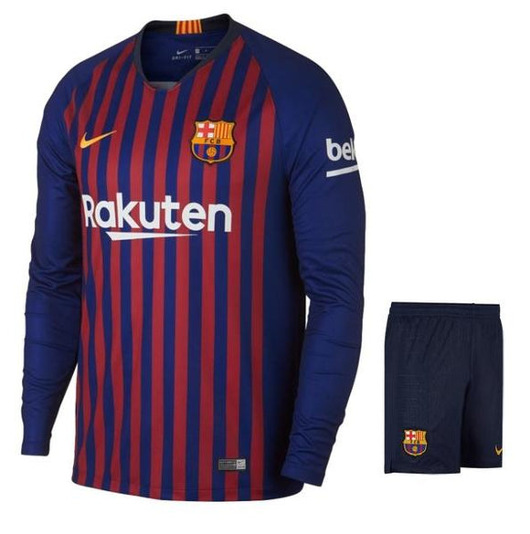 Original Barcelona Full Sleeve Premium Home Jersey & Shorts [Optional] 2018-19