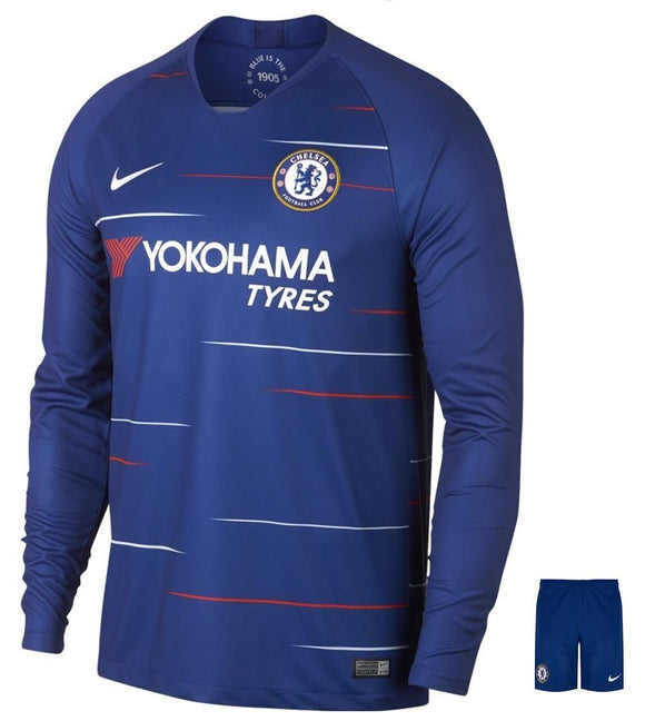 Original Chelsea Full Sleeve Premium Home Jersey and Shorts [Optional] 2018-19