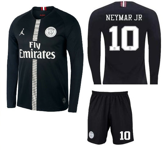 huge discount 09c0e 08f81 Original Jordan X Black Neymar PSG Full Sleeve Premium Jersey & Shorts  [Optional] 2018-19