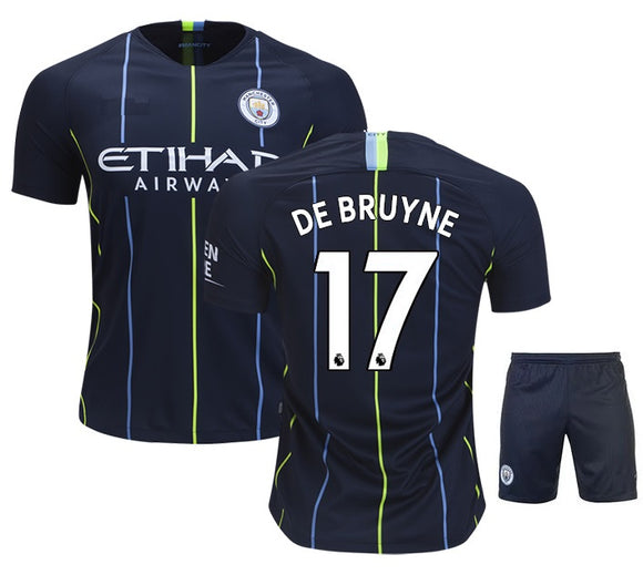 Original De Bruyne Manchester City Premium Away Jersey & Shorts [Optional] 2018-19