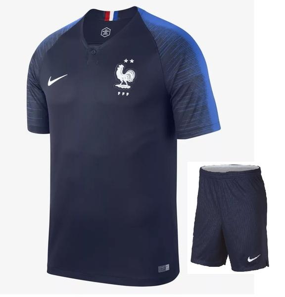 Original World Cup 2018 Champions 2 Star France Premium Home Jersey & Shorts [Optional]