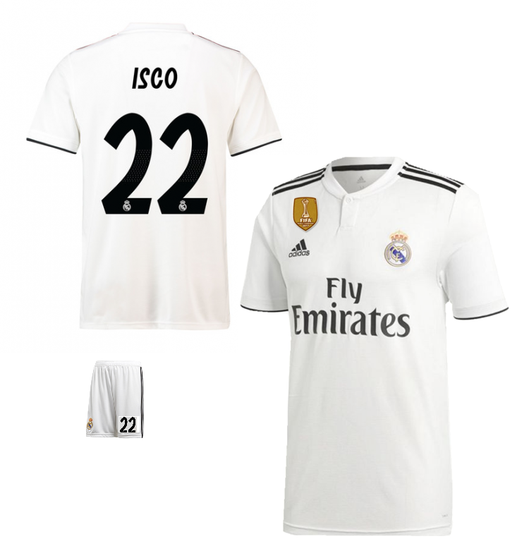 sports shoes c72c4 597c6 Original Isco Real Madrid Premium Home Jersey & Shorts [Optional] 2018-19
