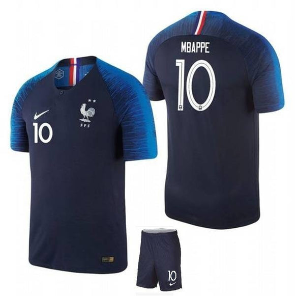 Original Mbappe World Cup 2018 Champions 2 Star France Premium Home Jersey & Shorts