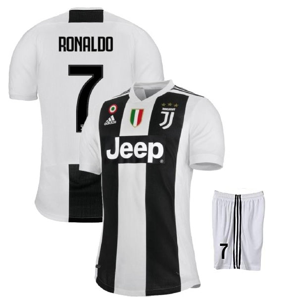 info for fd3cb cdfdd Original Ronaldo Juventus Premium Home Jersey and Shorts [Optional] 2018-19  (with Italia logos)
