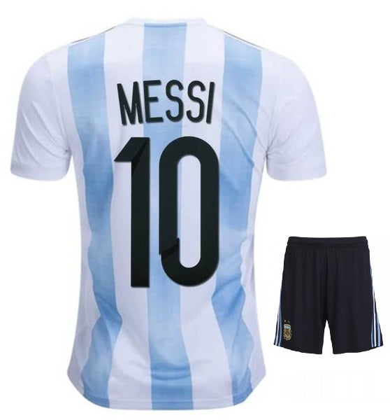 more photos 08090 bcea2 Messi Argentina Home Jersey & Shorts FIFA World Cup 2018